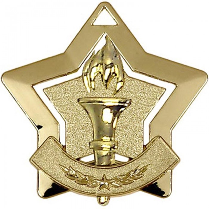 60MM STAR VICTORY TORCH MEDAL - 3 COLOURS